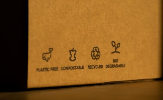 eco friendly carboard box with quality and recycling symbols across the base. lit in setting sun light