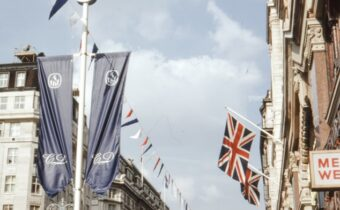 Diana and Charles' wedding, street bunting and flags